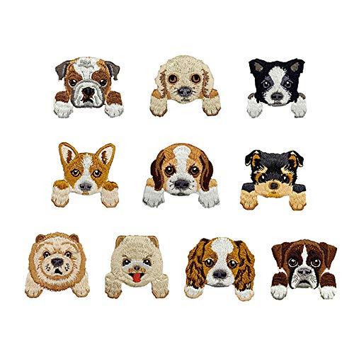 Mingjun Aufnäher/Aufbügeln bestickte Patches Hund für Kleidung Jacken Rucksäcke T-Shirts Jeans Applikation DIY Kleidung
