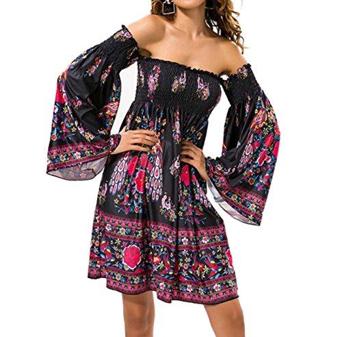 D-Pink Damen Schulterfrei Bardot Plissee Weiten Ärmeln Langarm Strandkleid Mini Floral Sommer Party Kleider Style 2