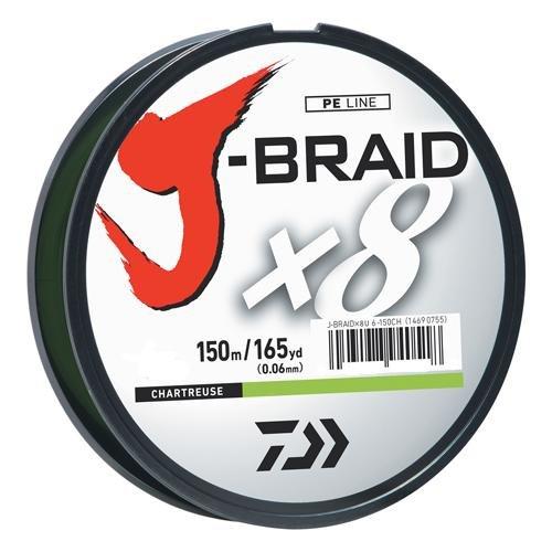 Daiwa J-Braid 150M 8-Fach geflochtene runde Flechtschnur, Unisex-Erwachsene, J-BRAIDX8 Braided LINE, Hellgrün, 30 lb -