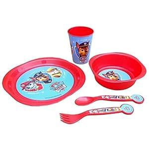 Paw patrol set de vaisselle 5 pièces pour enfant avec gobelets, assiettes & couverts