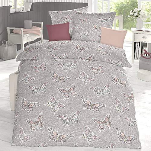 Schlafgut Edel Seersucker Bettwäsche Lynn Steppe 1 Bettbezug 155 x 220 cm + 1 Kissenbezug 80 x 80 cm -
