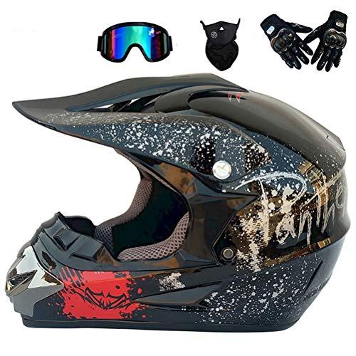 Anderseb Fahrradhelm Mountainbike MTB Helm, Motocross Cross Downhill Enduro Helm mit Helmhaken Brille Maske Full Face MTB Helm,L58`59CM