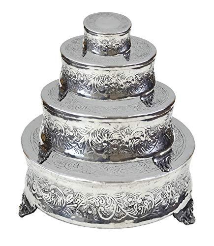 Tortenständer für Hochzeitstorte, Aluminium, rund, aufwendig gestaltet, 56 x 46 x 36 x 15 cm, 4 Stück Aluminium-serveware