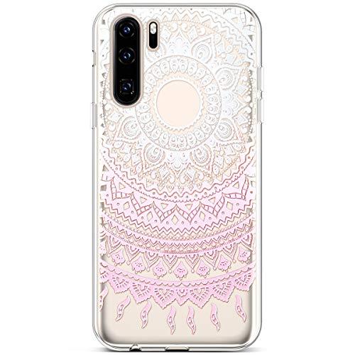 PHEZEN Huawei P30 Pro Hülle, schlank, stoßfest, niedlich, lustiges Design, kristallklar, TPU, ultradünn, weiches Silikon, Gummi, Bumper Handyhülle für Huawei P30 Pro Pink Henna Mandala - Pink Henna