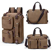 "Convertible Bag Laptop Backpack Fits 14"" Laptop Multi-Purpose 3 in 1 Business Messenger Bag with Adjustable Straps Canvas Travel Briefcase for Men Women,Brown"
