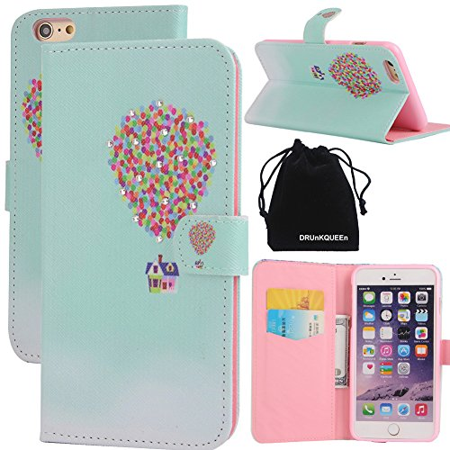 iPhone 6 & iPhone 6s Case, DRUnKQUEEn Leather Wallet Case Back Cell Phone Shell Skin Magnetic Flap Cover with Credit Card Holder for Apple iPhone6 (4.7