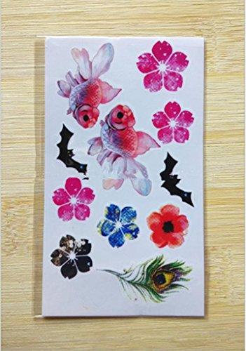 Gymnljy adesivi tatuaggio corpo impermeabile vernice 3d fiori tattoo adesivi rimovibili tatuaggi temporanei (confezione da 20 fogli) , 10.5*6cm