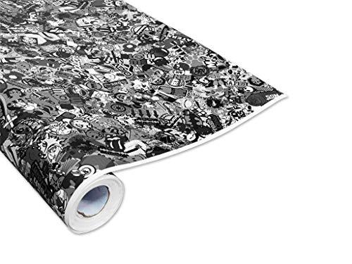 50x150cm Stickerbomb Auto Folie in schwarz/weiß Glänzend - Sticker Logo Bomb - JDM Aufkleber - Design: Skate