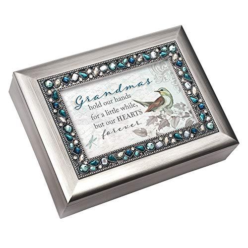 Cottage Garden Spieluhr, Motiv Grandma Hearts Forever, gebürstet, silberfarben, Blau mit Schmucksteinen (Musik-schmuck-box Für Mama)