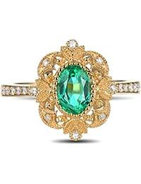 Epinki 18k Oro Anillos para Mujer Hoja Cuadrado Anillo Propuesta Matrimonio Anillo de Diamante con Blanco