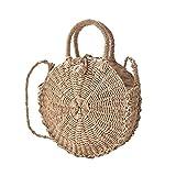 camphiking Stroh Tasche, Beach Bag, Single Schulter Messenger mit doppeltem Verwendungszweck Woven Tasche, Haushalt Reisen Aufbewahrungstasche, A