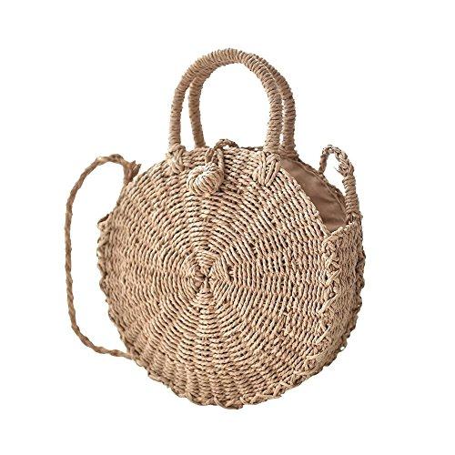 Fancylande Bolso redondo de mimbre, bolso bandolera para la playa, para mujer, tejido, de doble uso, para viajes y vacaciones, regalo ideal para mujer y niña