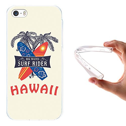 iPhone SE iPhone 5 5S Hülle, WoowCase Handyhülle Silikon für [ iPhone SE iPhone 5 5S ] Hawaii Big Waves Surf Rider Handytasche Handy Cover Case Schutzhülle Flexible TPU - Transparent Housse Gel iPhone SE iPhone 5 5S Transparent D0359