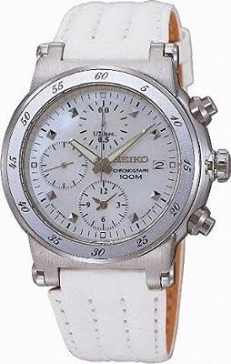 Seiko SND875P1 - Reloj cronógrafo de mujer de cuarzo con correa de piel blanca