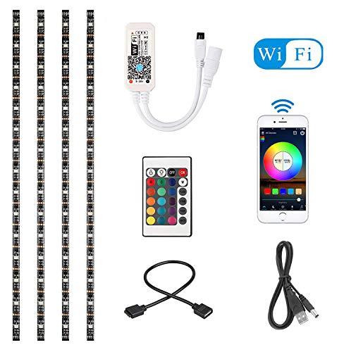 4 x 50cm Striscia LED a LED WiFi RGB App Smart Control TV flessibile Striscia di sfondo TV Lavora con Alexa e Google Home con controller IR USB + Connettore DC