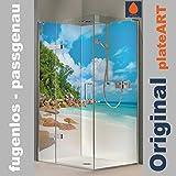 ORIGINAL plateART Eck-Duschrückwand, Wandverkleidung, Wandbild, Rückwand Alu-Dibond OHNE FUGEN, Fliesenersatz, Karibik-Motiv Bucht