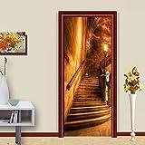 MENTZZXM Adesivo per Porte in PVC Autoadesivo Adesivo per Scale Scala Carta da Parati per Soggiorno Decorazioni per La Casa