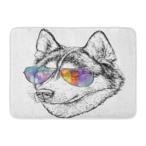 LIS HOME Fußmatten Bad Teppiche Outdoor/Indoor Fußmatte Hund von Husky Hipster Aviator Sonnenbrille Skizze Wolf Vintage Hand Badezimmer Dekor Teppich Badematte