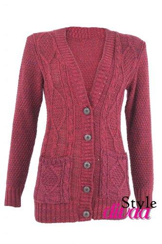 SD Hanger Cardigan tricot épais poche en maille pour tricot Câble Rouge - Bordeaux