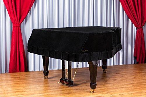 Clairevoire Grandeur: Klassische große Premium Samt Klavier Abdeckung für Yamaha C2 / GC2 / C2X / DC2 / G2 / CN173PE [173cm|5 ft 8 inches] [Mitternachtsschwarz]