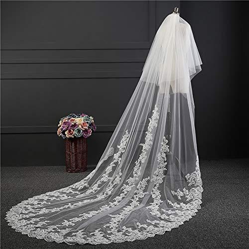 Hochzeitsschleier Romantische Spitze Doppelschicht Blüht Langes Schleppendes Weiches Freier Kamm,White,3M*1.8M