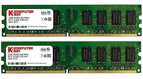 Komputerbay 4 Go (2x 2 Go) DDR2 667Mhz PC2 5300 PC2 5400 CL 5 DIMM (240 PIN) de 4 Go AM2 - ne fonctionne que sur Cartes mères