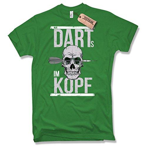 FUNSHIRT NUR DARTS IM KOPF, T-Shirt, Dart, Skull, Totenkopf, Gr. S-XXL Grün / Green