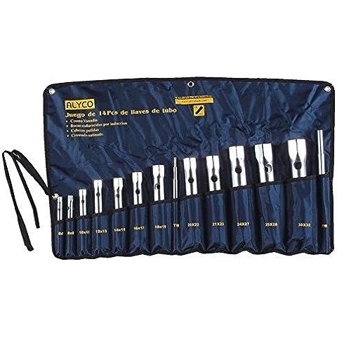 Alyco 191575-Set chiavi a tubo 14 scritta satinato opaco UNE 16586 in Borsa in nylon