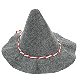 KarnevalsTeufel Seppelhut Grau mit Rot-Weißer Kordel, Oktoberfest, 10er-Pack