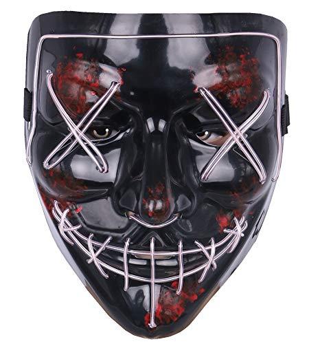 LED Masken EL Wire Cosplay Maske Purge DJ Mask Für Fasching Karneval Party Kostüm (Weiß) ()