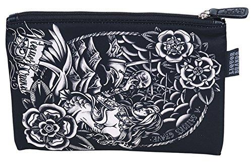 LIQUOR BRAND Oldschool Sailor Grave Cosmetic Bag Kosmetiktache Rockabilly Schwarz -Weiß