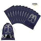 Sacs de rangement pour chaussures de voyage, Qutaway Window Sacs de rangement économise l'espace transparent, Talon haut, Drawstring, Anti poussière, respirant, Utilisation familiale, Paquet de 10 ( Bleu foncé )