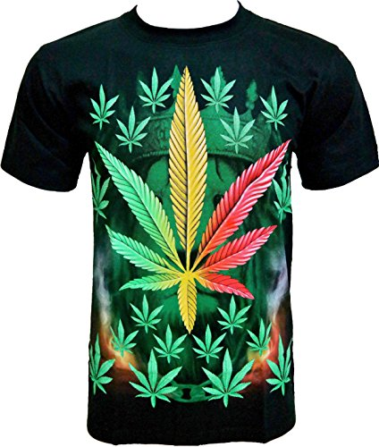 T-shirt da uomo Rock Chang * Weed * Cartoon * nero R706 Black XXX-Large