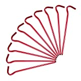 Lvgowyd 10 Stück Aluminium Zeltheringe mit Haken - Ultraleichte 17,8 cm Zeltheringe für Camping, Reisen, Wandern und Gartenarbeit, 10 Pack + Red