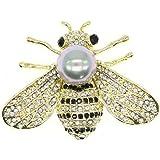 Spilla a forma di ape di miele con cristalli a tema di insetti e api, con perle e conchiglie, color oro