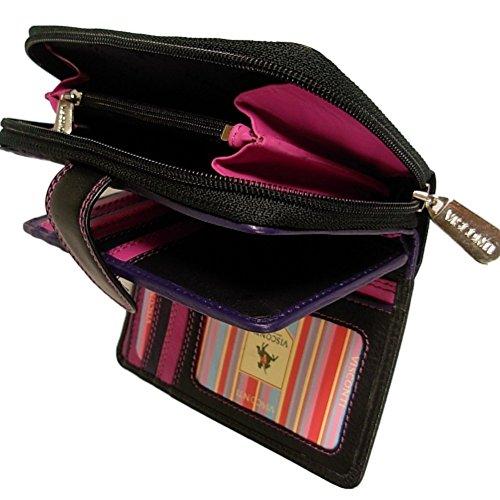 New ladies Visconti Rio black berry leather purse style R13