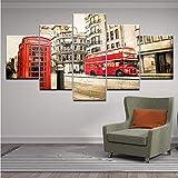 Wiwhy Moderno Hd Impreso Wall Art Frame Fotos De Lona 5 Piezas Londres Street Scene Red Bus Reino Unido Ciudad Edificios Vintage Pintura Posters,20X35/45/55Cm