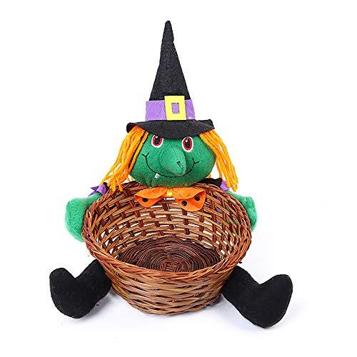 OOFAY Halloween Dekorationen Party Liefert Home-Desk Oberfläche Speicher Korb Geschenkbox Kürbis Schwarze Katze Weiße Geister Hexe Puppe Ghost Festival Basket Candy Korb Kindergeschenk,B,Small