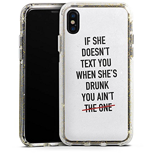 Apple iPhone 8 Bumper Hülle Bumper Case Glitzer Hülle Sayings Phrases Sprüche Bumper Case Glitzer gold