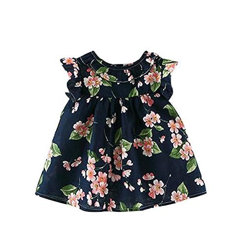 Xmansky Sommer Baby Kinder Mädchen Ärmellos Prinzessin Kurz Hülse Wild blumen Kleid Halskette Blumen A-Line Party Kleid (2Jahre, Blau)
