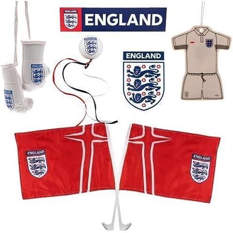 England F.A, coche Set - accesorios del coche paquete - 1 x metralleta - 1 x par de mini guantes de boxeo - 1 x antena Topper - 1 x 10 cm x 7 cm aprox imán - 1 x kit aire fresener - 2 x bandera del coche - producto con licencia