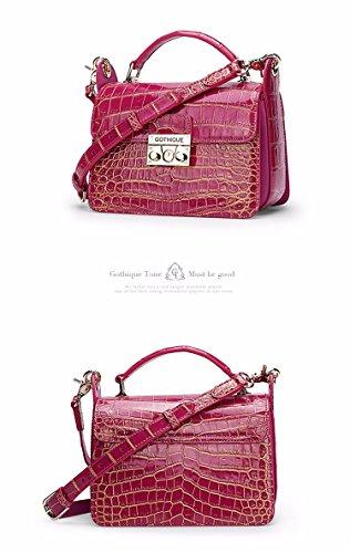lpkone-Sacs à main vente sac motif crocodile lock petite place avec le sac Messenger Bag Pink