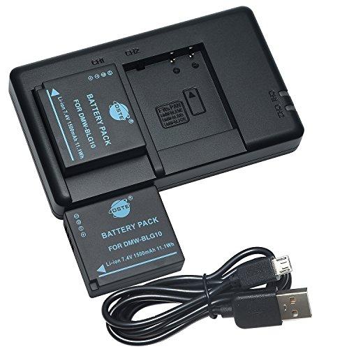 DSTE 2PCS DMW-BLG10(1500mAh/7.4V) Batterie Chargeur Compatible pour Panasonic Lumix DMC-GX85,DMC-LX100,DMC-TZ80,DMC-TZ81,DMC-TZ100,DMC-TZ101 comme DMW-BLE9,DMW-BLE9GK,DMW-BLE9PP,DMW-BLG10E,DMW-BLG10PP