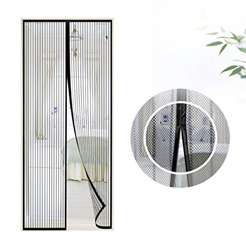 Mosquitera puerta magnetica, Samione Fiberglass magnético puerta de la pantalla de insectos, protección de insectos cortina magnética mosca cortina para sala de estar balcón, (Negro)