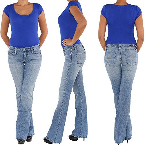 Damen Stretchjeans Schlaghose Hüftjeans Bootcut Schlag Stretch Jeans Hose Blau Blau