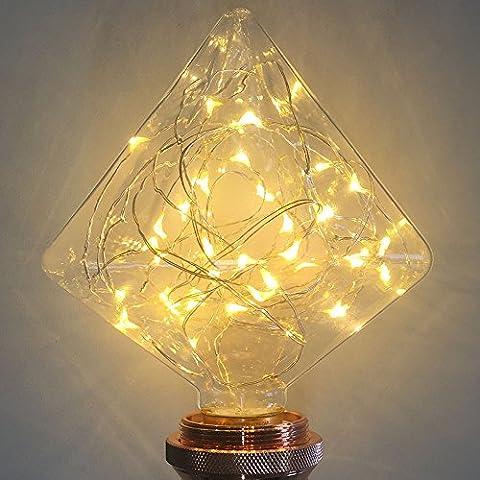 Lampe décorative ampoules, Xinrong Fil de cuivre de ciel étoilé ampoules E272W d'économie d'énergie rétro Vieux Mode Edison Ampoule d'éclairage d'intérieur Home Décoration de pendentif, doux et chaud Blanc Glow, G125 diamond, E27 2.0 wattsW 240.0 voltsV