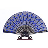 ThreeCat Folding Hand Fan, TheBigThumb Vintage Handheld Sequin Flower Folding Fan Fabric Folding Fan Women Gift For Wedding Dancing Party, Royal Blue Sequins Folding (1)