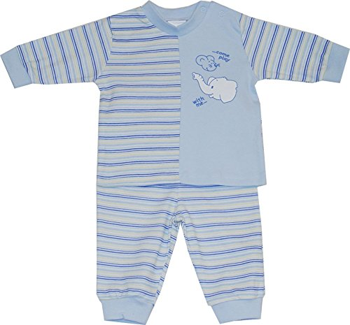 Schnizler Interlock Elefant & Maus Geringelt, Pijama para Niñas, Blau (Bleu 17),...