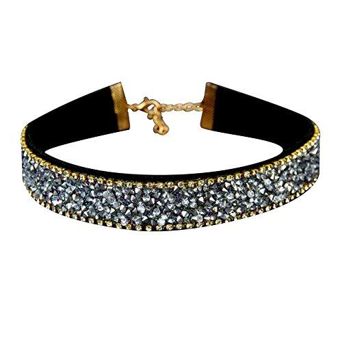 Meigold Kragen Halskette Strass Kragen Stein Samt Halskette Helle Diamant Halskette Mädchen Dame Schmuck Geburtstagsgeschenk Valentinstag Halskette 1 STÜCKE