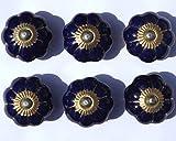 Tabla de pomo para puerta azul de líneas pomo de Armario de Cerámica dorado 40 mm x 6 unidades